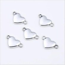 20pcs Silver gold color LOVE Heart Charms Pendant Earring Connectors for Jewelry Making Accessories DIY Findings Handmade