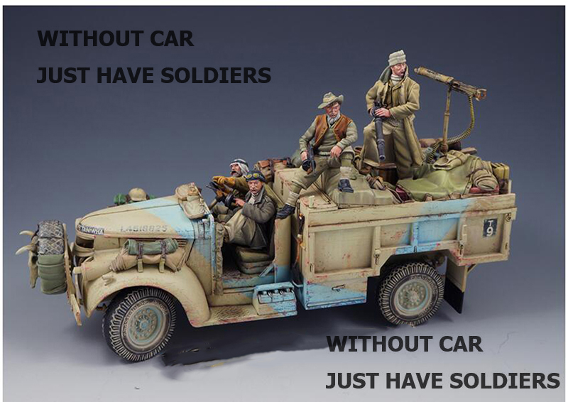 1/35 The Long Range Desert Patrol 4 Figures  (NO CAR NO BAG )  Toy Resin Model Miniature Resin Figure Unassembly Unpainted
