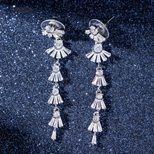 Visisap Long Tassels Icedout Dangle Earrings for Women Fashion Gifts Jewelry Wedding Anniversary Earring Factory EH011