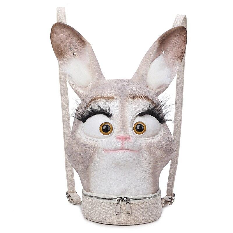 Mode hiphop personnalité 3D solide réaliste lapin tête lapin Animal sac à dos Halloween Cool voyage doux sacs d'école adolescent
