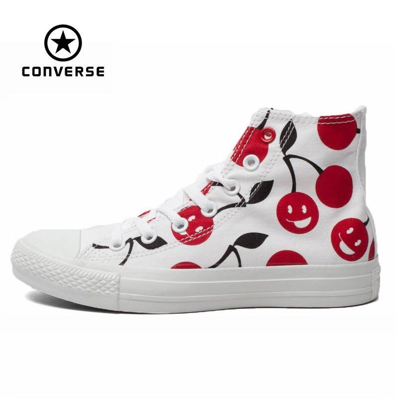 Prix pour D'origine Converse all star chaussures femmes sneakers Main-peint graffiti blanc toile chaussures femmes grande Planche À Roulettes livraison gratuite