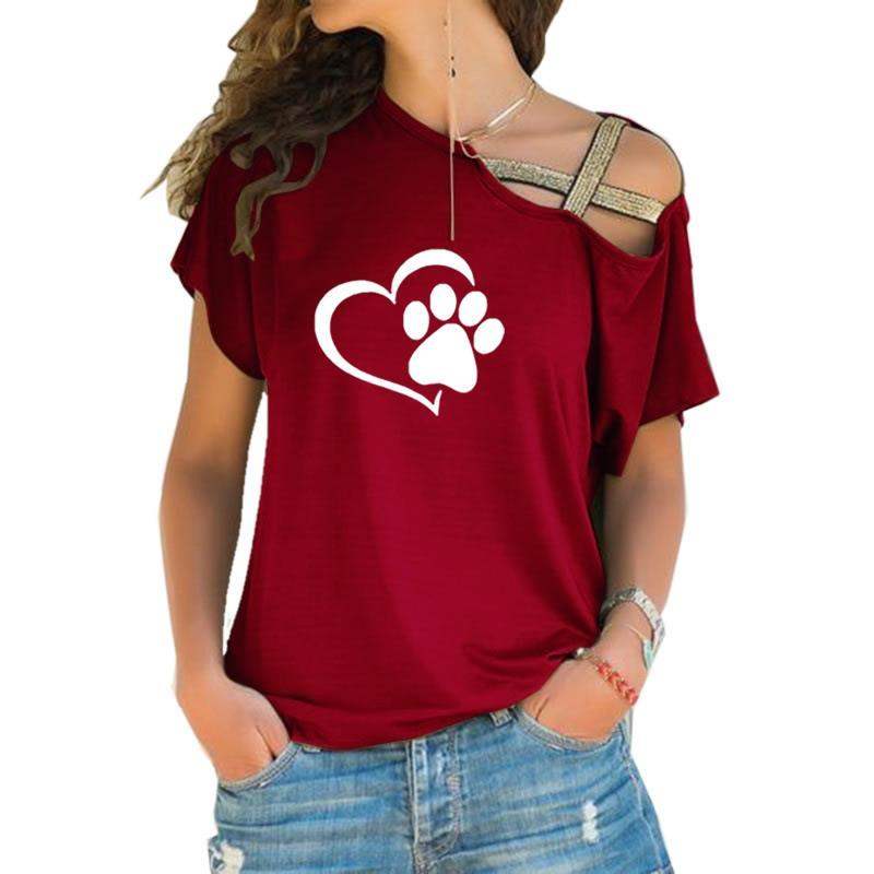 Dropshipping 2019 Pata Do Gato Do Cão Do Coração T-shirt Da Forma Das Mulheres Camiseta Tops Cross-ombro Irregular Curto-de mangas compridas T-shirt