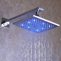 Solid Brass Chrome 8 Inch 3 Colors LED Temperature Sensitive Square Rainfall Shower Head Free Shipping L 008