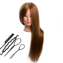 CAMMITEVER Blonde Hair Mannequins Salon Hairdressing Hair Styling Training Head Mannequin 20'' With Holder Hairstyling Practice