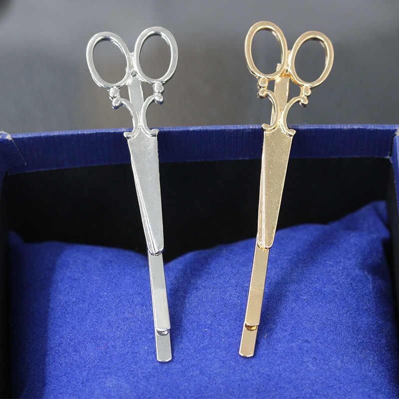 New Sederhana Kepala Perhiasan Rambut Pin Emas Gunting Gunting Klip Untuk Aksesoris Hiasan Kepala Tiara Jepit Rambut Untuk Gadis Wanita