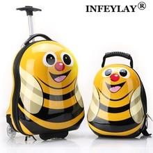 """2 шт./компл. горячий ребенок животных школьная сумка чемодан мультфильм 1"""" Детский рюкзак на колесах для путешествий случае интернат box детей канцелярские"""