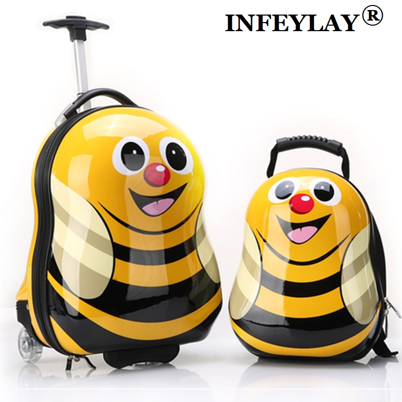 2PCS/Set hot child animal School bag Tourism luggage suitcase cartoon 17 kids travel trolley case Boarding box children gift