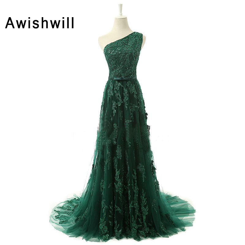 New Arrival 2019 Long Evening Gowns One Shoulder Beading Appliques Tulle Sleeveless Green Formal Party Dress