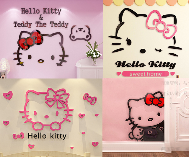 3D Acrylic Wall Sticker Cute Cartoon Hello Kitty For Kids Room Baby Girls Princess Bedroom Decals Poster Home Decor DIY Fashion