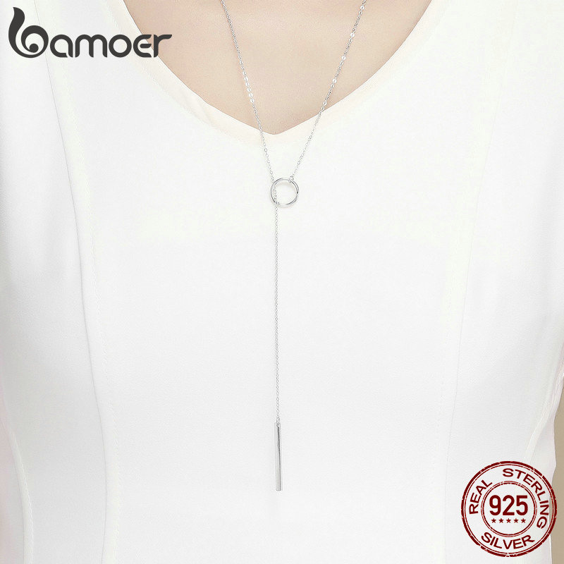 BAMOER Genuine 925 Sterling Silver Round Circle Line Geometric Pendant Necklaces for Women Sterling Silver Jewelry BAMOER Genuine 925 Sterling Silver Round Circle Line Geometric Pendant Necklaces for Women Sterling Silver Jewelry SCN304