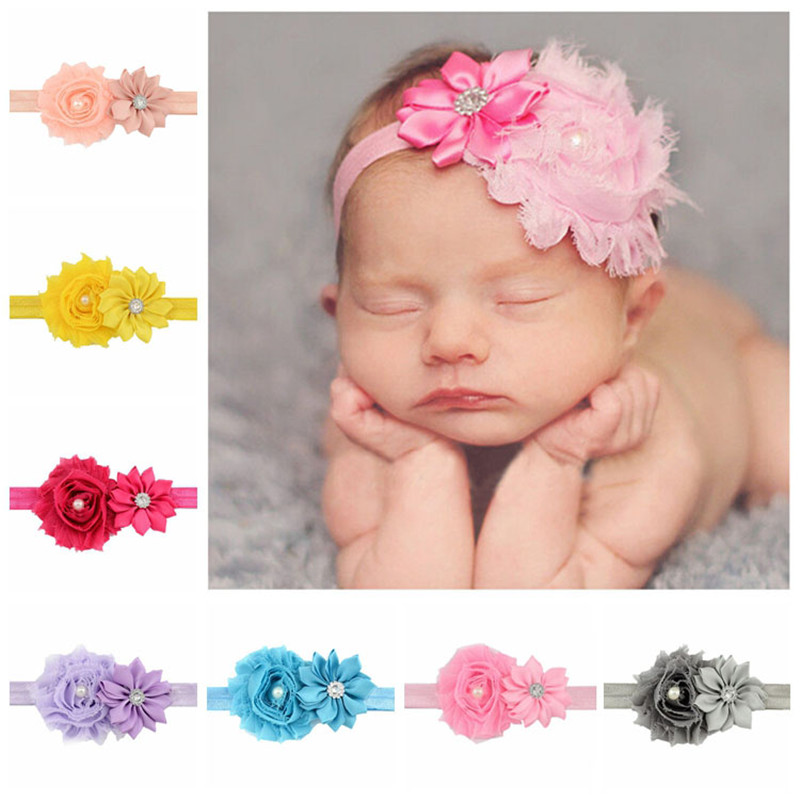 Cute Flowers Pearl Rhinestone Headband Hairband Girls Floral Head Bands Elastic Headwrap Baby Kids New Born Hair Accessories