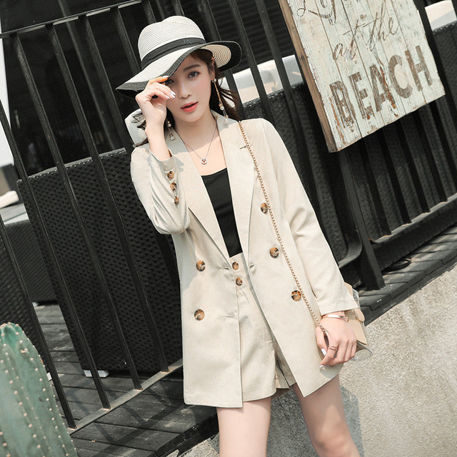 a7bfbad81a79 Summer Thin Suit Casual Set Cotton linen Double Breasted Blazer Jacket and Shorts  Pant Suit 2