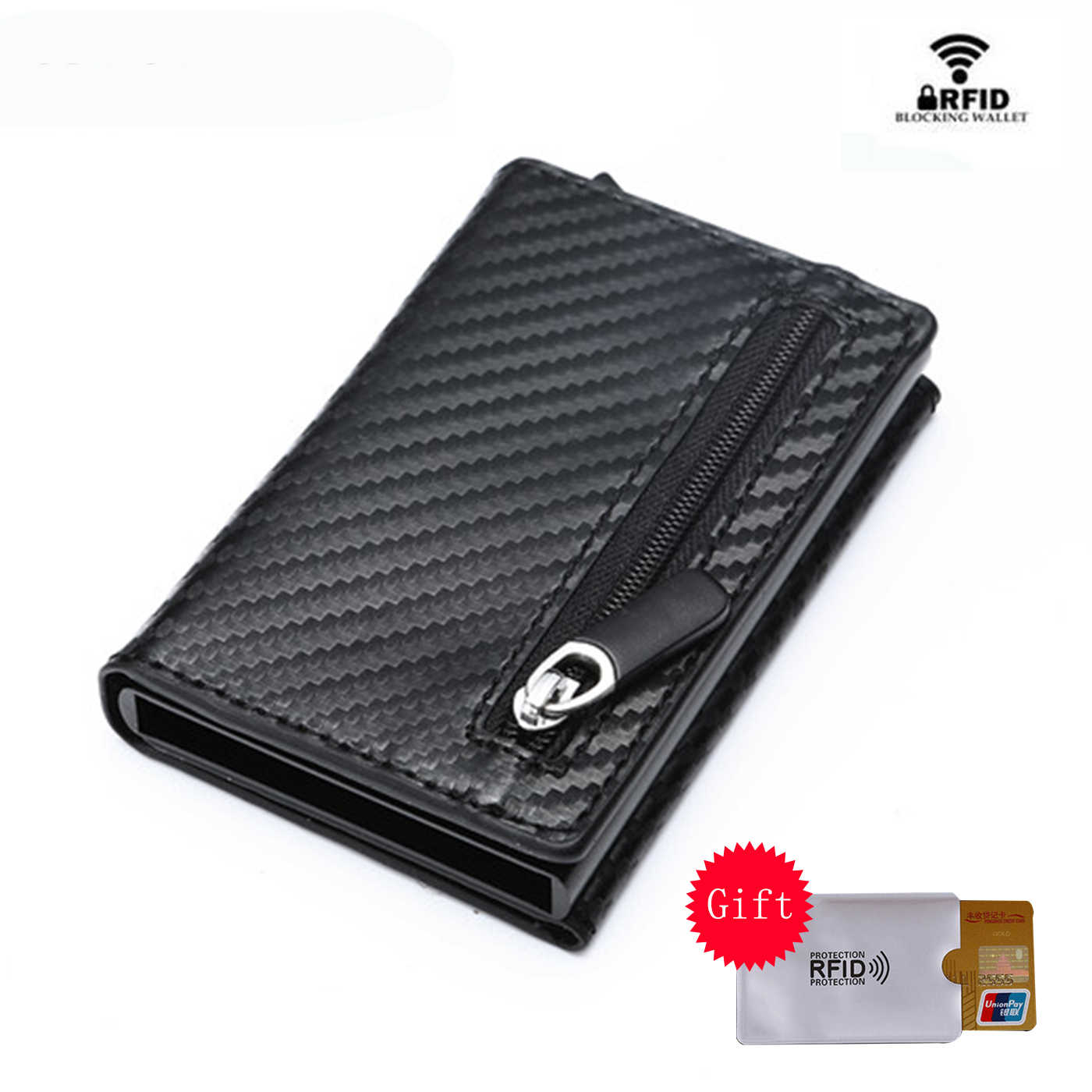 BYCOBECY Coin Purse 2019 New Aluminum Box Card Wallet RFID PU Leather Card Holder Pop Up Coin Purse Magnet Carbon Fiber