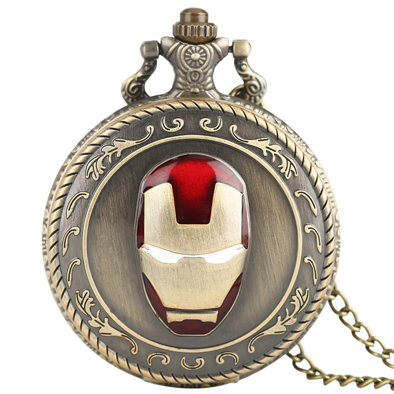 Bronze Iron Man Pocket Watch Unisex Vintage Copper Mask Superhero Pandant Chain Quartz Necklace Watches in Gift Bag cep saati old antique bronze doctor who theme quartz pendant pocket watch with chain necklace free shipping