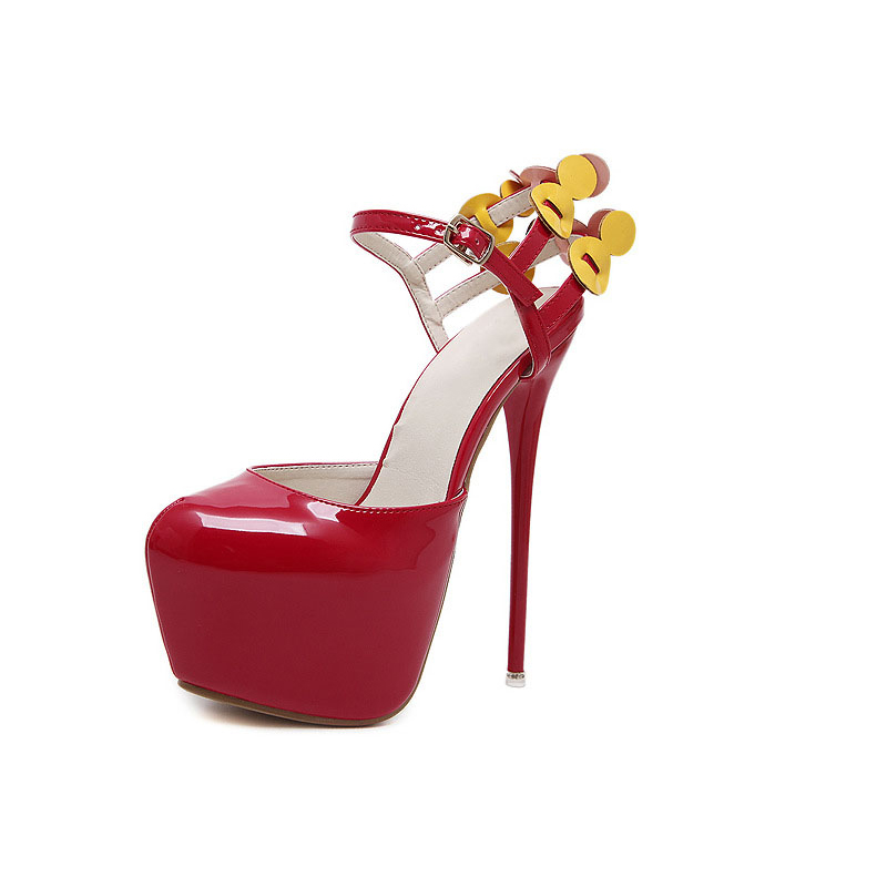 Hot Selling Sexy Platform High Heel Sandals Red Flowers Woman Rome Shoes  Elegant Large Size Leather Dress Sandals
