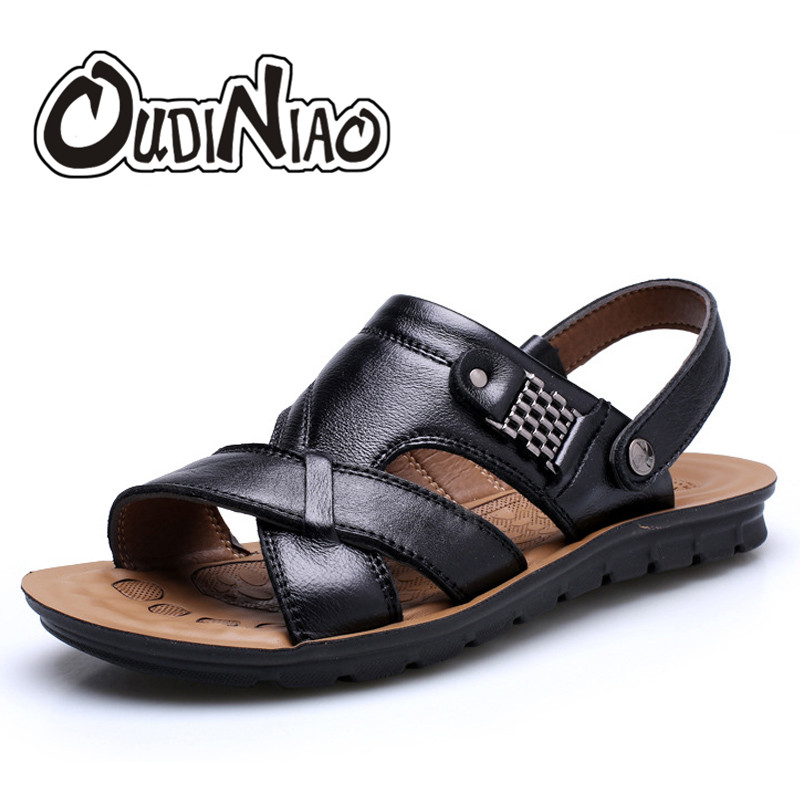 OUDINIAO Mens Shoes Cow Split Leather Men Sandals Summer Slipper Men Shoes Beach Breathable Buckle Gladiator Slip Sandals Men