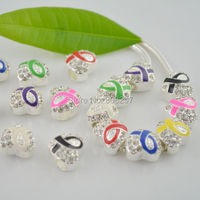 60pcs Mix Color Enamel Ribbon AWARENESS / Rhinestone Heart European Charm Beads / Fit Bracelets Findings