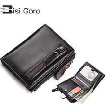 BISI GORO 2019 Genuine Leather Wallets Brand Women&Men Wallet Purse Business Credit Card Holder Double Zipper Cowhide Wallet