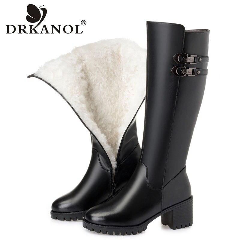 DRKANOL Big Size 35 43 Winter Boots Women Wool Warm Thick Heel Knee High Boots Genuine