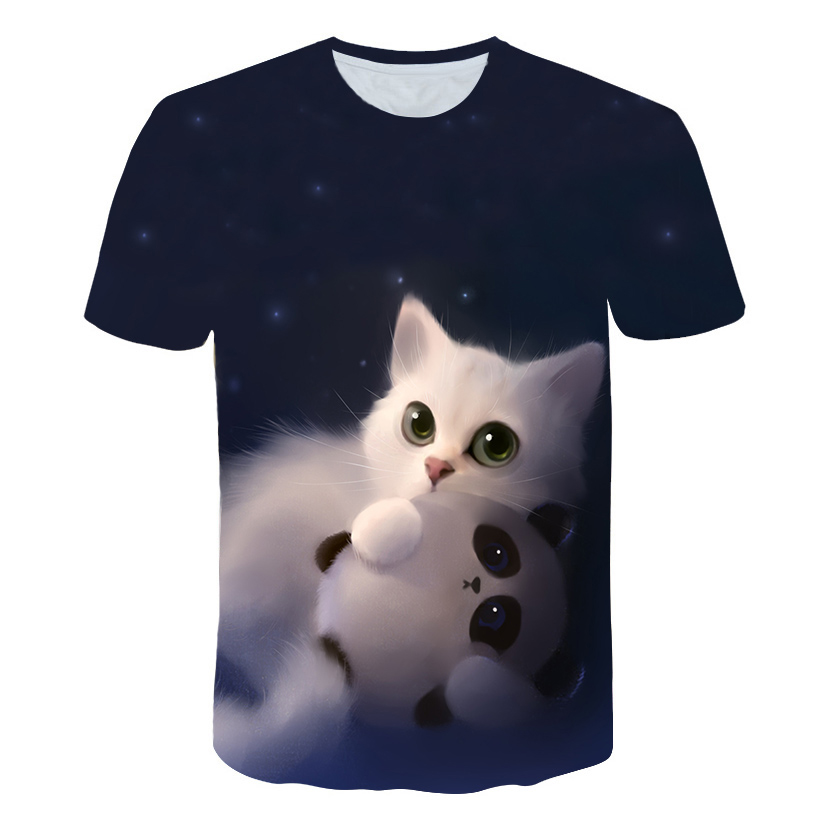 2018 Dream Fashion cat tee T-Shirt kitten vibrant tee funny t shirts Summer Style galaxy nebula space t shirt tops For Women Men