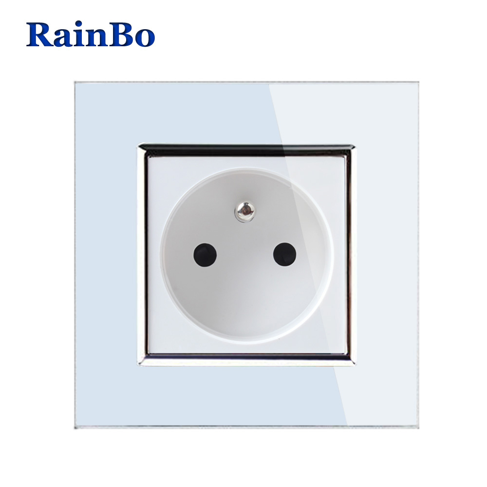 RainBo Brand Free Shipping Wall Power Socket New Outlet France Standard Crystal Glass Panel AC110~250V 16A Wall Socket A18FW/B 250v 16a eu de standard distribution box guide rail socket modular socket power outlet 2p e free shipping frcap7