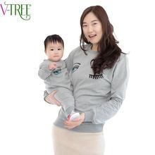 v-tree 2016 spring family clothing print mother kids family matching outfits full sleeve baby romper mother t-shirt family look