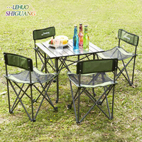Outdoor folding table chair Portable five piece barbecue self driving leisure beach table and chair set Fashion furniture