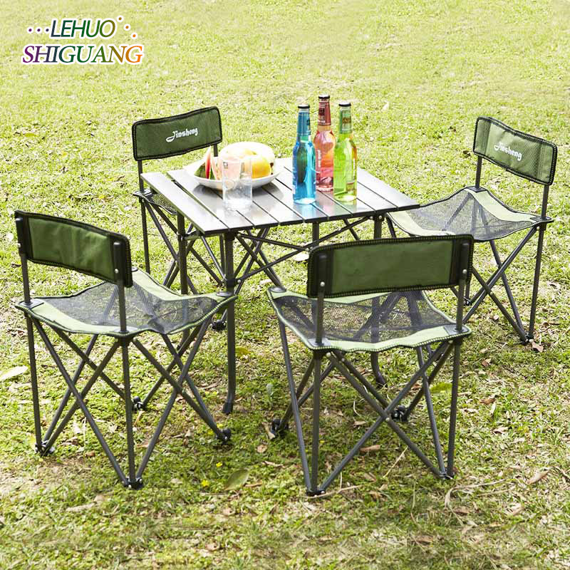 цена Outdoor folding table chair Portable five-piece barbecue self-driving leisure beach table and chair set Fashion furniture