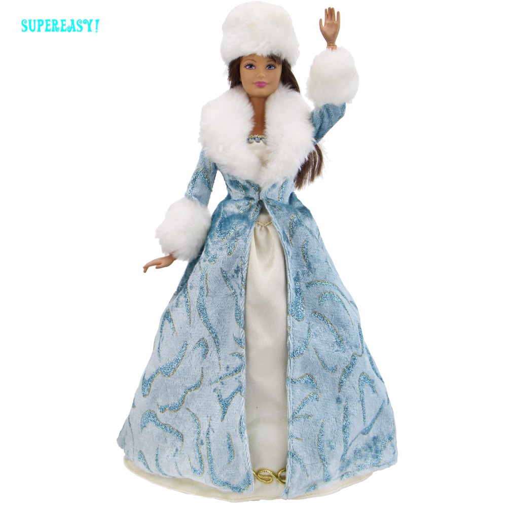 Limited Edition Outfit Long Sleeves Coat Queen Gown Excellent Quality Winter Sexy Skirt Hat Clothes For Barbie Doll Accessories new mf8 eitan s star icosaix radiolarian puzzle magic cube black and primary limited edition very challenging welcome to buy