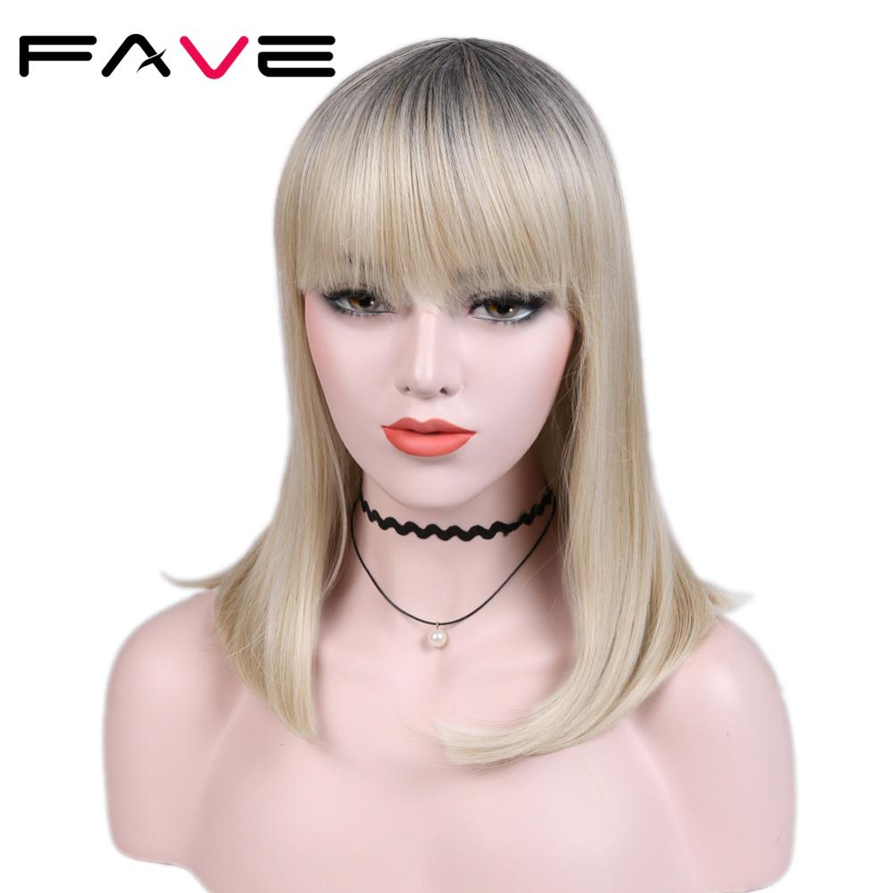 Fave Short Straight Hair Synthetic Wig With Bangs Black To Sandy Blonde Heat Resistant Fiber Cosplay For Black Women Wigs