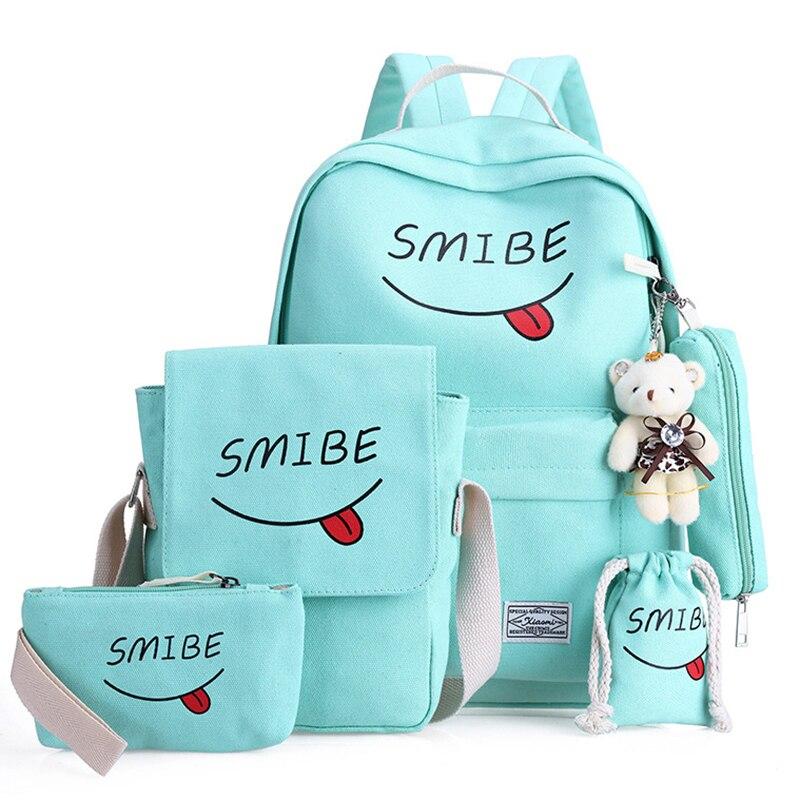 d94e8a2d8c7d Купить Школьный рюкзак с принтом, школьный рюкзак, холщовые школьные сумки  для девочек подростков, кошелек с медведем, Mochila, сумки на плечо,  рюкзаки Цена ...