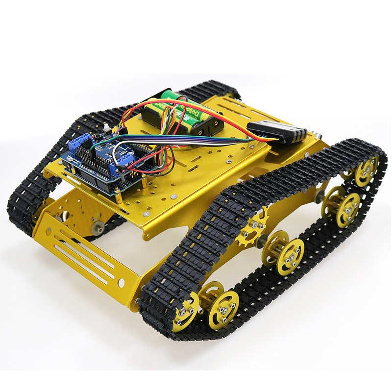 PS2 джойстик Управление умный робот бак шасси с двойной электродвигатель постоянного тока 12 вольт + Arduino доска + мотор драйвер платы для DIY проектов Y100