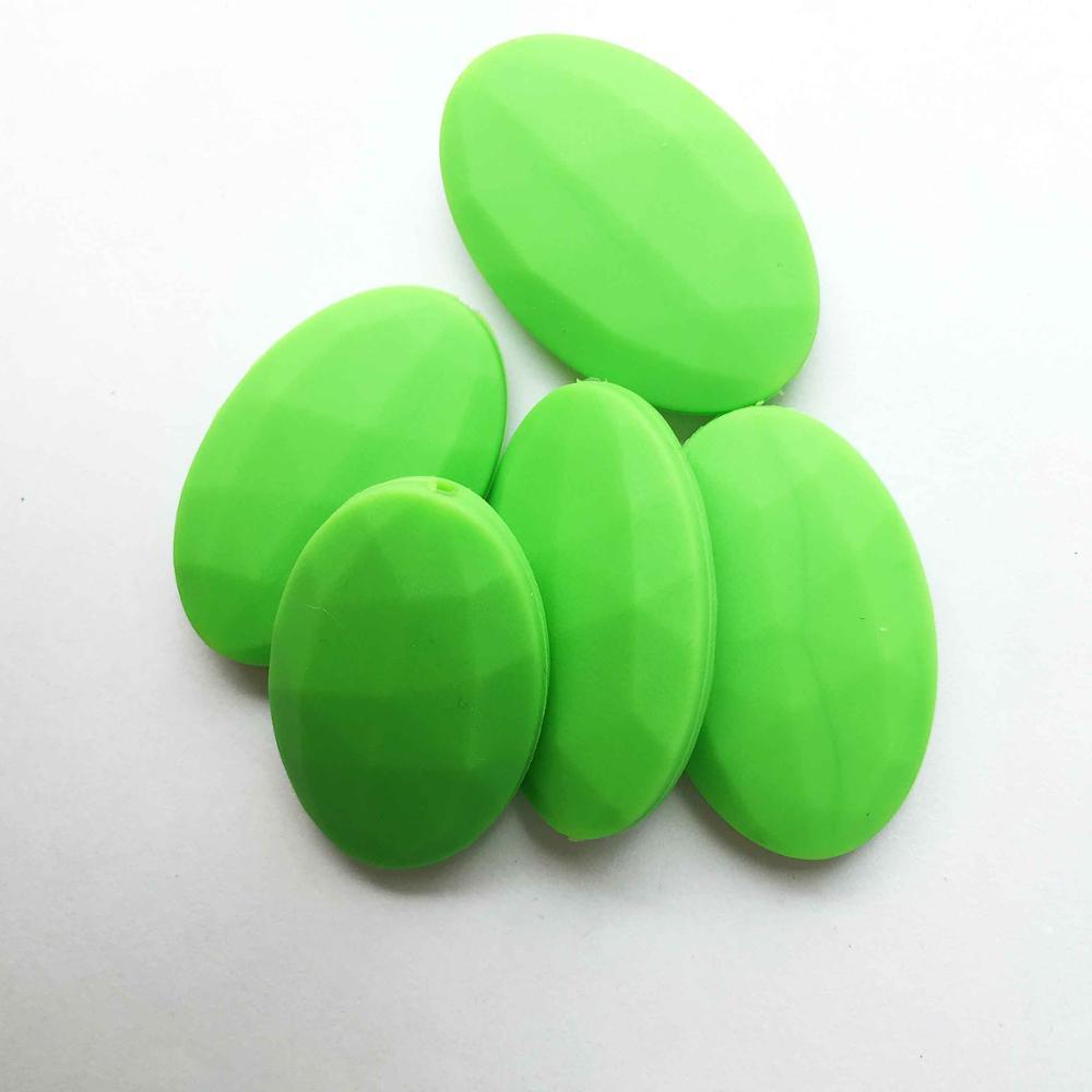 50 шт./лот плоские овальные свободные силиконовые Бусины для прорезывания зубов Цепочки и ожерелья силиконовые свободные Бусины для маленьких прорезыватель BPA бесплатно 19 цвет - Цвет: Зеленый