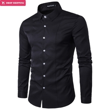 5 Colors new fashion Pure color Good  Quality Men Slim Fit Casual shirt Mens Full Sleeve Shirt Plus Size S-2XL , G7063