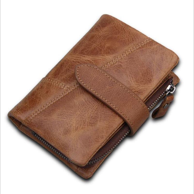 La MaxZa Genuine Leather Retro Men Wallets High Quality Famous Brand Hasp Design Male Walet Card Holder for Men's Purse Carteira
