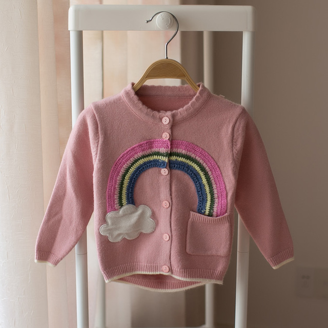6e6ff313a New 2018 children baby cardigan sweater girl lovely rainbow sweater ...