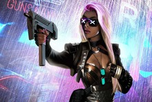 fabric poster print (frame available) sci-fi cyberpunk girl with glasses weapon PDM410 living room home decoration wall decor
