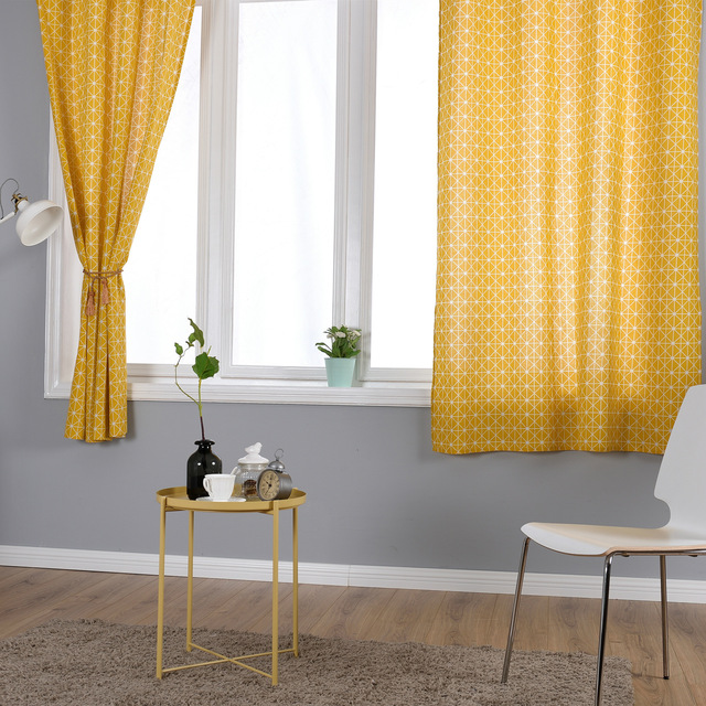Yellow Linen Cotton Curtains For Living Room Kitchen Geometry Printing Half  Blackout Children Bedroom Decorations Window