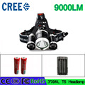 Z20 LED Flashlight Torch 3T6 headlamp XM-L T6 LED Headlight 9000 Lumen Head Lamp  Lanterna Headlamp With 2 batteries and charger