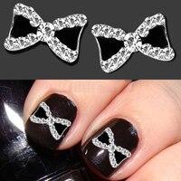 10pcs/set 3D Metal Rhinestone Bowknot Bow Tie Nail Art Salon Stikers Tips  Glitters DIY  Decorations 5W8L 7H6L