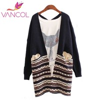 Vancol Fashion National Style Cardigan Plus Size Women Patchwork Geometric Pattern Batwing Sleeve Long Casual Outwear