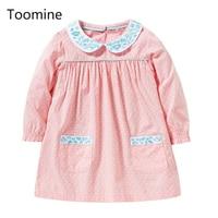 Toomine Baby Girls Dress 2017 New Arrival Dot Girls Dresses Children Clothes Autumn Winter Girls Long Sleeve Dress With Collar