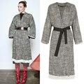 Mulher 2016 Pista IM Espinha tweed Malha Envoltório trench coat com cinto gota ombro hem com franjas brancas