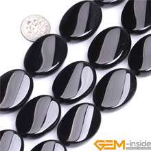 Oval Black Agat Twist Shape Natural Stone Beads DIY Loose Beads For Jewelry Making Strand 15