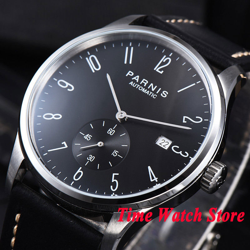 42mm Parnis men's watch concise style black dial silver hands Arabic numerals DATE 5ATM ST1731 Automatic wrist watch men 954 blackhawk field operator watch with black numerals