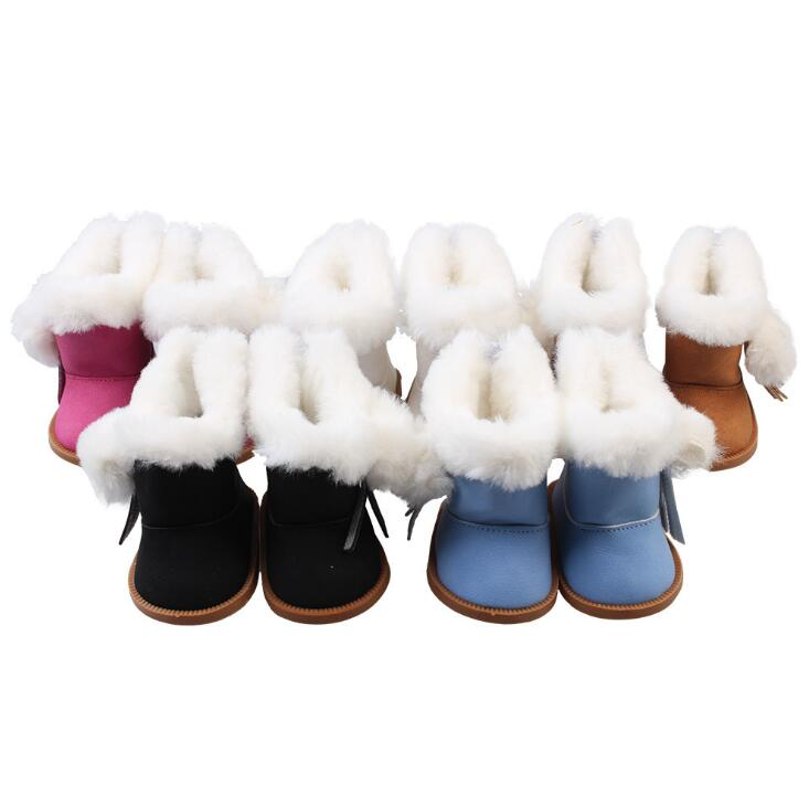 1 Pair Plush Winter Snow Boots For 43cm Baby Born Zapf Dolls As For 18 Inch American Girl Dolls Mini Shoes For baby Gift fashion white sports boots shoes for dolls fits 43 cm zapf dolls baby born and 18 american girl