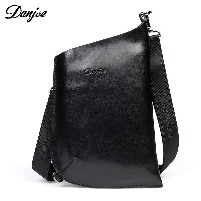 DANJUE Leather Cowhide Chest Packs Men Casual Dumpling shape Theftproof Single Shoulder Black Bag Fashion Man