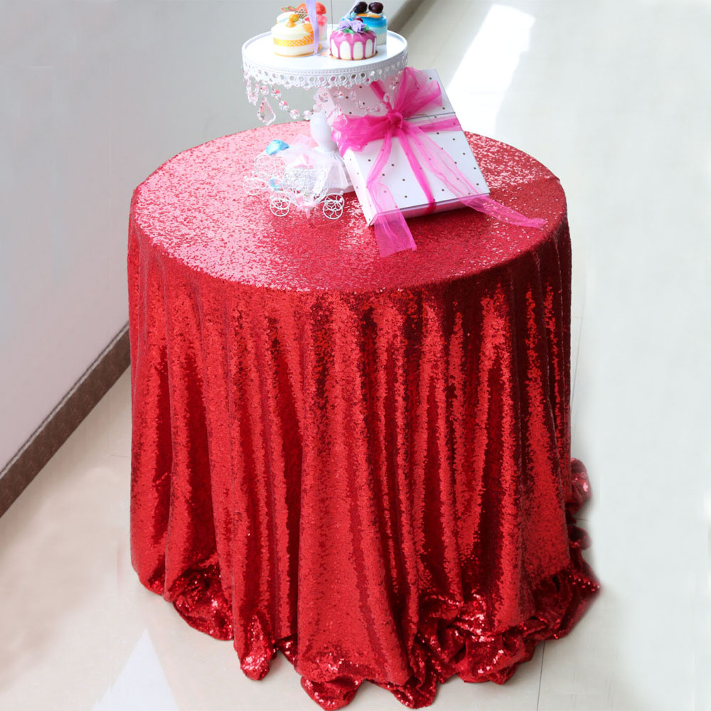 High Quality 96inches(240cm) Round Sequin Tablecloth,Shimmer Sparkly Red Overlays  Tablecloth For Wedding/