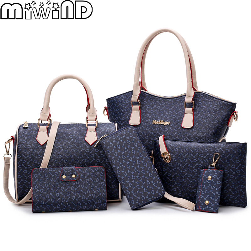2018 New Women Bags Leather Handbags Fashion Shoulder Bag Female Purse High Quality 6-Piece Set Designer Brand Bolsa Feminina 3 piece new oil wax leather women bags set handbags fashion shoulder bag female high quality famous brand purse bolsa feminina