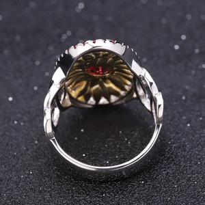 Image 4 - GEMS BALLET 1.00Ct Natural Rhodolite Garnet Sunflower Rings 925 Sterling Silver Handmade Ring for Women Bijoux Fine Jewelry